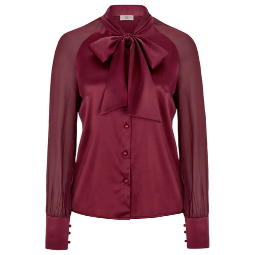 Silk Satin Blouse Mischa in garnet red