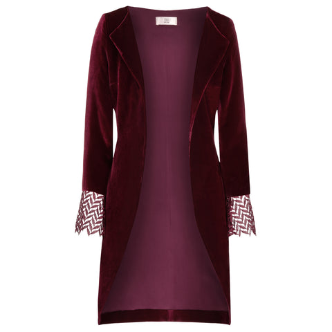 "Velvet Dress ""Rose"" in garnet red"