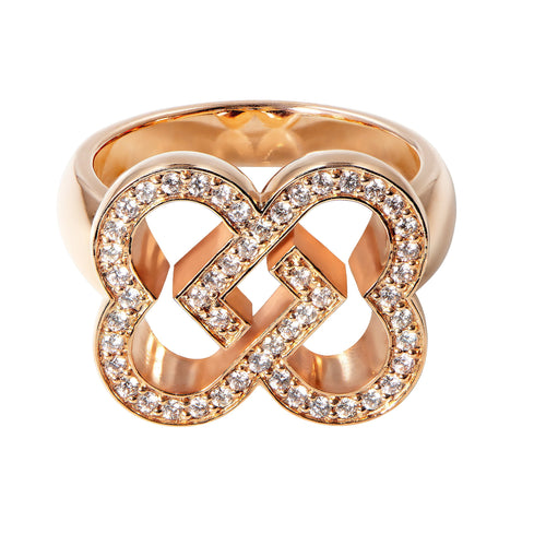 Little Love Ring in pink gold with diamonds