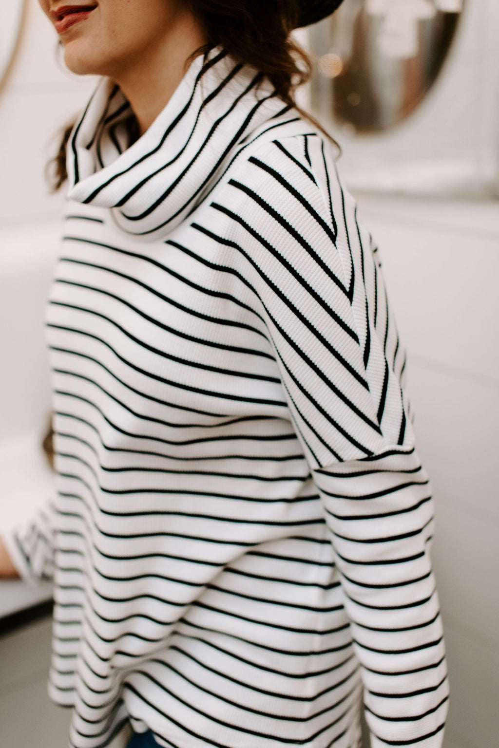 black_and_white_cowl_neck_tunic_top
