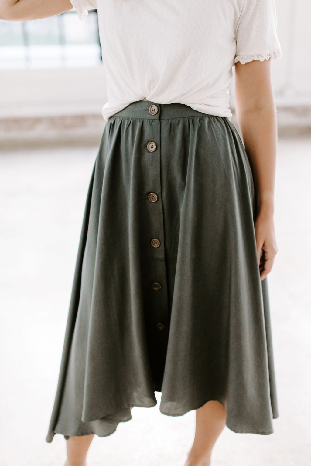 olive_button_up_midi_skirt