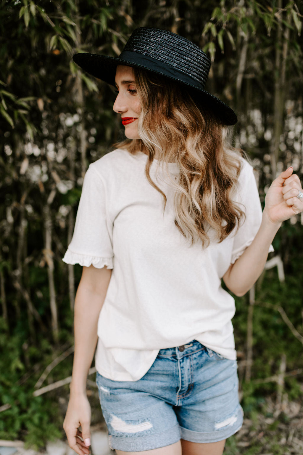 cream_ruffle_sleeve_tee_shirt