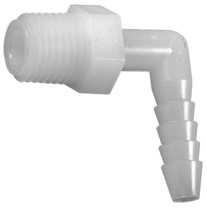"No. 229N Plastic 3/8"" ID Hose Barb to 1/4"" MIP Male Pipe Elbow"