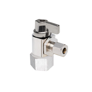 "1/2"" Hubz Fully Nickel-Plated Supply Stop Ball Valve - Angle × 1/4"" Compression"