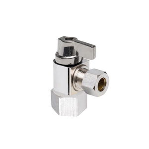 "1/2"" Hubz Fully Nickel-Plated Supply Stop Ball Valve - Angle × 3/8"" Compression"