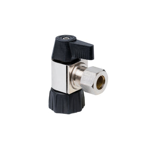 "1/2"" Hubz Supply Stop Ball Valve - Angle × 3/8"" Compression"