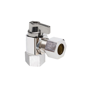 "1/2"" Hubz Fully Nickel-Plated Supply Stop Ball Valve - Angle × 1/2"" Compression"