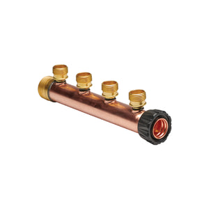 "Manifold Body - 1"" Trunk with 1"" Hubz Inlet × 1"" MIP Outlet with 4 - 1/2"" Hubz Receiver Branches - Copper"