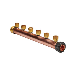 "Manifold Body - 1"" Trunk with 1"" Hubz Inlet × 1"" MIP Outlet with 6 - 1/2"" Hubz Receiver Branches - Copper"