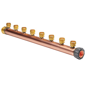 "Manifold Body - 1"" Trunk with 1"" Hubz Inlet × 1"" MIP Outlet with 8 - 1/2"" Hubz Receiver Branches - Copper"