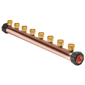 "Manifold Body - 1"" Trunk with 1"" Hubz Inlet × 1"" Hubz Nut Outlet with 8 - 1/2"" Hubz Receiver Branches - Copper"