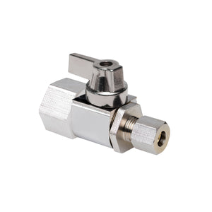 "1/2"" Hubz Fully Nickel-Plated Supply Stop Ball Valve - Straight × 1/4"" Compression"