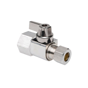 "1/2"" Hubz Fully Nickel-Plated Supply Stop Ball Valve - Straight × 3/8"" Compression"