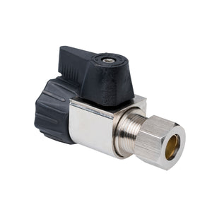 "1/2"" Hubz Supply Stop Ball Valve - Straight × 3/8"" Compression"