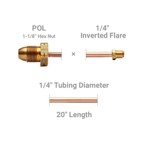 "Pigtail, POL x 1/4"" Inverted Flare, long nipple, 1-1/8"" hex nut - 20"" length"