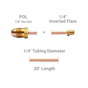 "Pigtail, POL x 1/4"" Inverted Flare, long nipple, 7/8"" hex nut - 20"" length"
