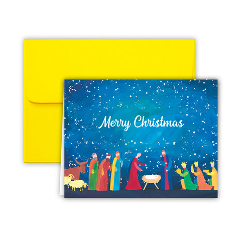 Paper Frenzy Abstract Nativity Christmas Cards and Envelopes - 25 pack