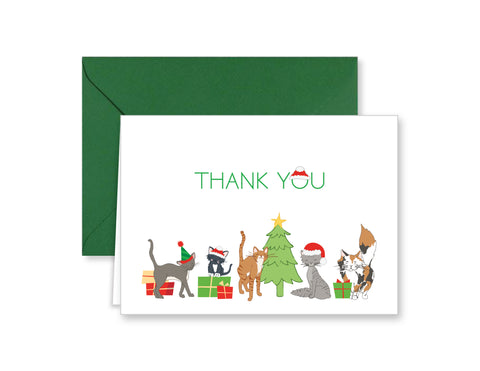 Christmas Kitty Cats Holiday Thank You Note Cards