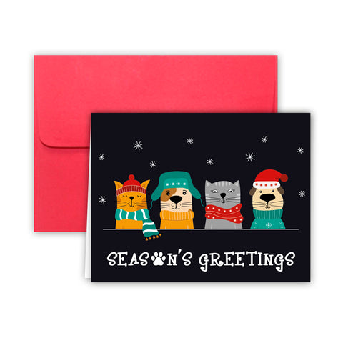 Paper Frenzy Dogs and Cats Seasons Greetings Christmas Cards and Envelopes - 25 pack