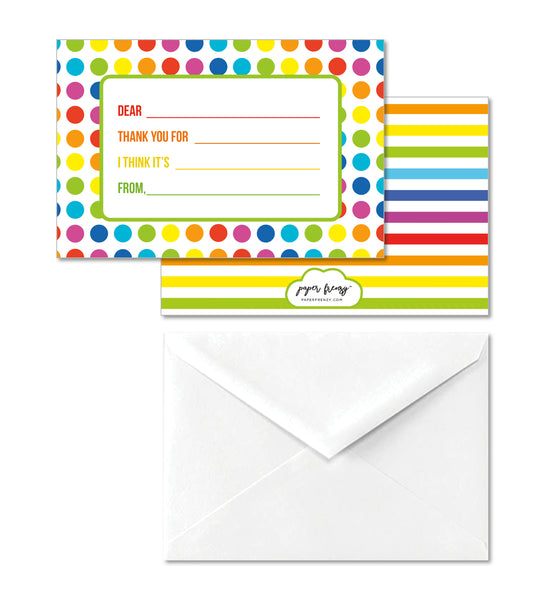 Colorful Dot Children's Kid Write In Thank You Note Cards