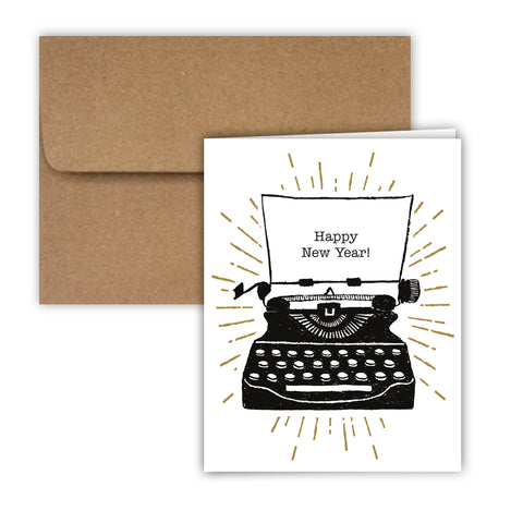 Paper Frenzy Happy New Year Typewriter Christmas Cards and Envelopes - 25 pack