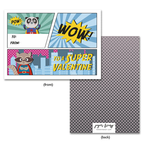 Super Hero Themed Valentine Cards