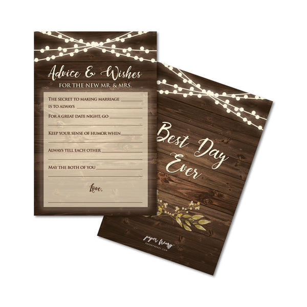 Rustic Advice & Wishes Wedding Cards