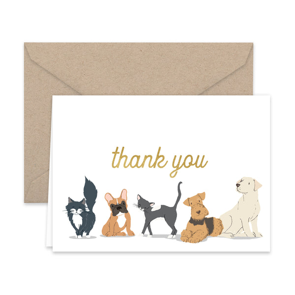 Dog and Cat Thank You Note Cards and Kraft Envelopes