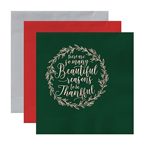 Christmas Holiday So Many Beautiful Reasons to Be Thankful Luxury 3 ply Luncheon Napkins