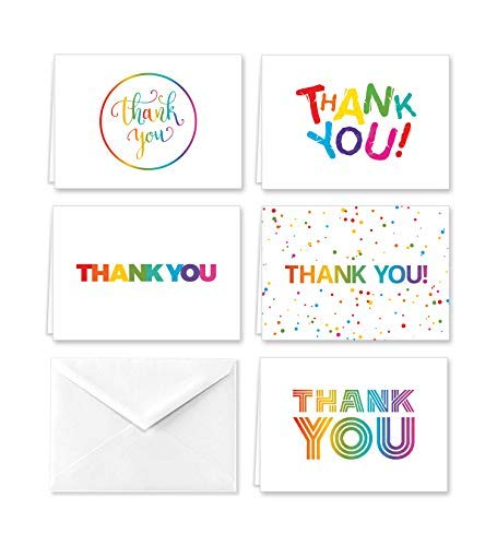 Rainbow Thank You Note Cards
