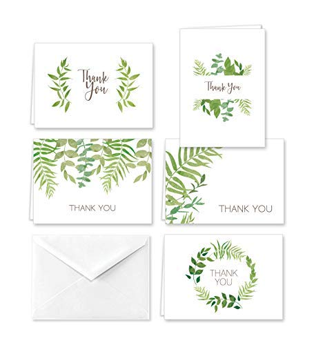 Elegant Ferns Thank You Note Cards and Envelopes