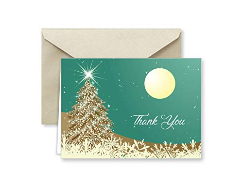 Colorful Holiday Horizon Christmas Thank You Note Cards