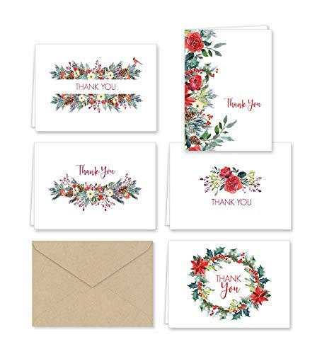 Christmas Greenery Thank You Note Cards