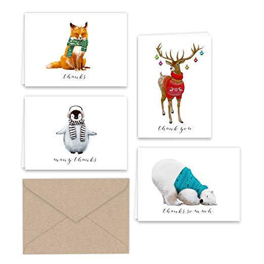 Winter Animals Thank You Note Cards