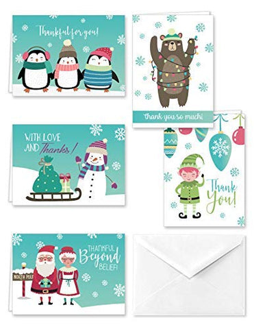 North Pole Collection Winter Christmas Holiday Thank You Note Cards