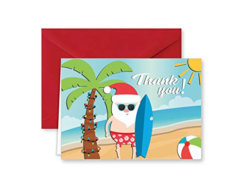 Surfing Santa Tropical Beach Christmas Holiday Thank You Note Cards