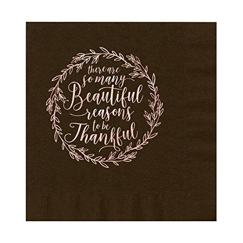 Thanksgiving So Many Beautiful Reasons to Be Thankful Brown Luxury 3 ply Luncheon Napkins