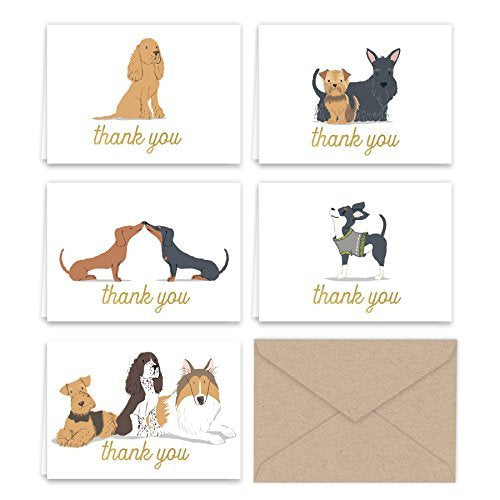 Dogs Puppies Thank You Note Card Collection