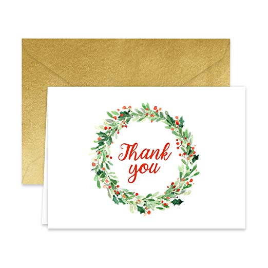 Holiday Wreath Thank You Note Cards