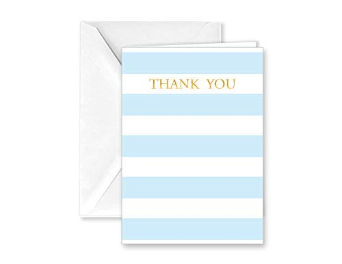 Baby Blue Stripe Thank You Note Cards