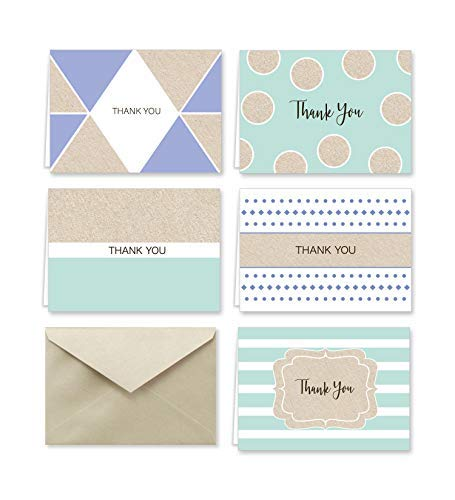 Purple and Mint Designer Thank You Note Card Collection