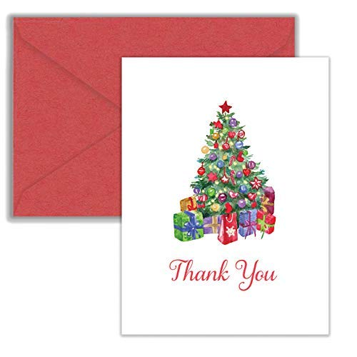 Christmas Tree Holiday Thank You Note Cards