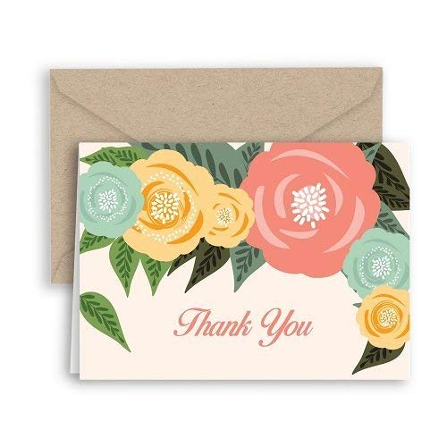 Pop Floral Thank You Note Cards