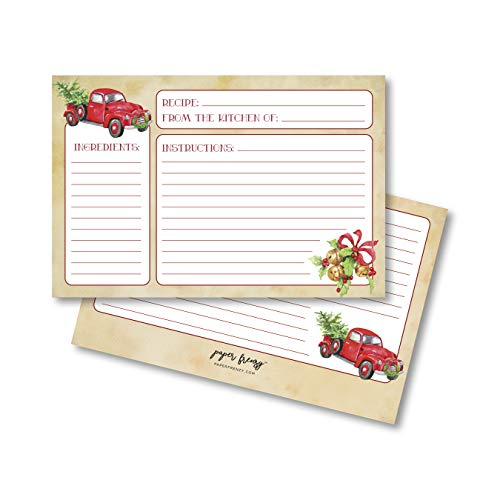 Nostalgic Red Truck with Tree Holiday Recipe Cards