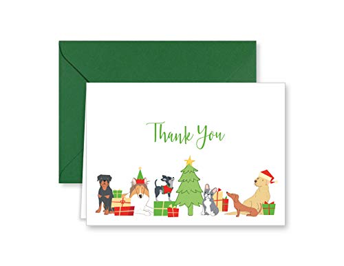 Christmas Dog and Puppy Holiday Thank You Note Cards