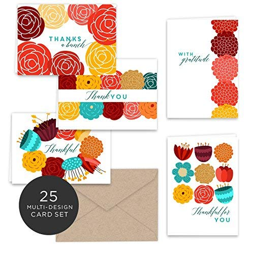 Vibrant Fall Floral Thank You Note Cards