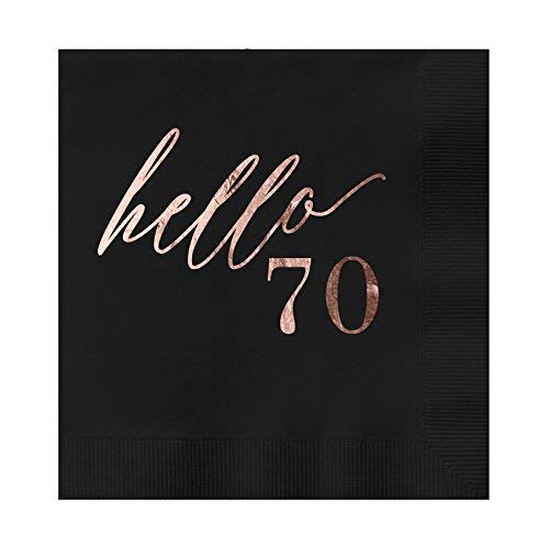 Hello 70 Black Beverage Cocktail Party Napkins