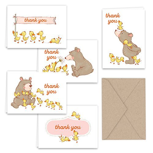 Spring Bear and Ducks Thank You Note Card Collection