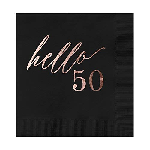 Hello 50 Black Beverage Cocktail Party Napkins