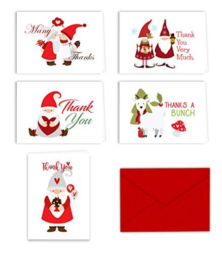Christmas Holiday Gnomes Thank You Note Cards